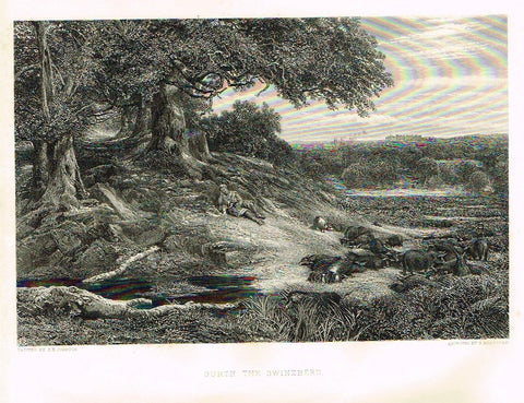 Antique Print - Art Journal's - GURTH THE SWINEHERD - Engraved by Bradshaw - 1871