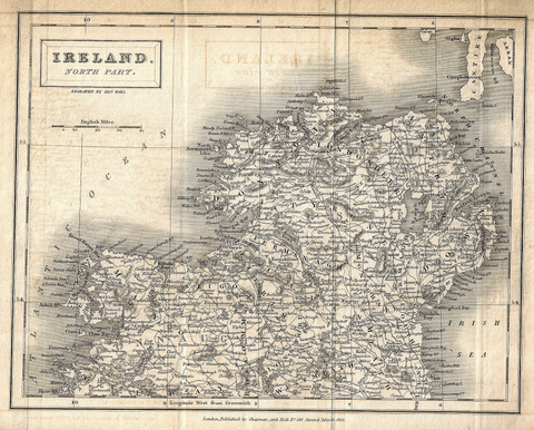 Hall's Antique Map - IRELAND, NORTH PART  - Lithograph - 1831