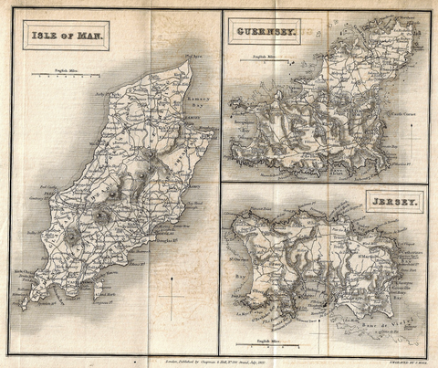 Hall's Antique Map - ISLE OF MAN, GUERNSEY - Lithograph - 1831