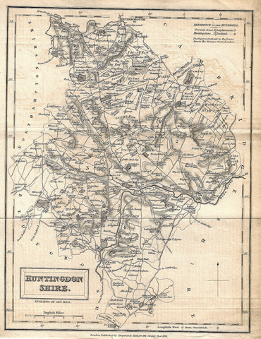 Hall's Antique Map - HUNTINGDONSHIRE - Lithograph -  1831