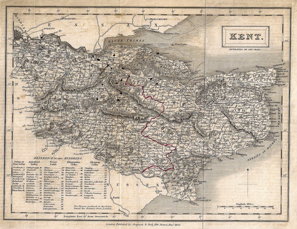 Hall's Antique Map - KENT - Lithograph -  1831