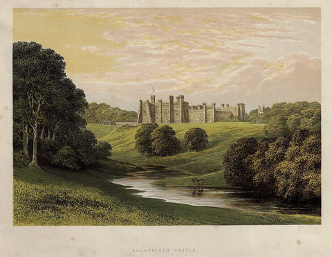 "Morris's Country Seats - ""BRANCEPETH CASTLE"" - Chromolithograph - 1866"