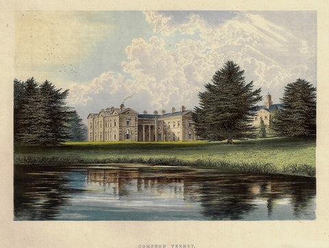 "Morris's Country Seats - ""COMPTON VERNEY"" - Chromolithograph - 1866"