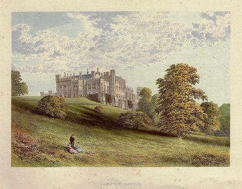 "Morris's Country Seats - ""LAMBTON CASTLE"" - Chromolithograph - 1866"
