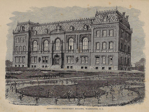 AGRICULTURAL DEPARTMENT BUILDING, WASHINGTON, D.C. - Steel Engraving - c1830