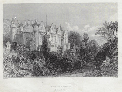 "Allom's ""ABBOTSFORD, ROXBURGHSHIRE""  - Steel Engraving - c1830"
