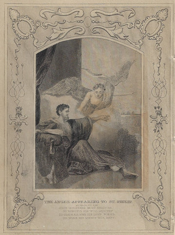 Howard's Religious Prints - ANGEL APPEARING TO ST. PHILIP - Engraving - 1860