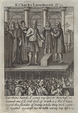 "Antique Religious Print from Book of Prayer - KING CHARLES I MURDERED"" 1708"