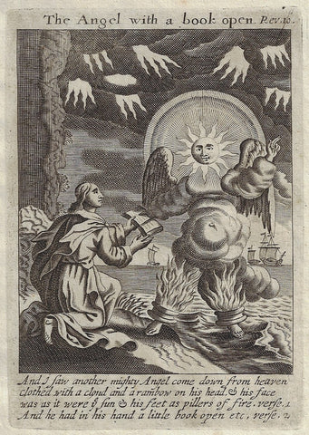 "Antique Print from Book of Prayer - ""ANGEL WITH A BOOK OPEN"" - 1708"