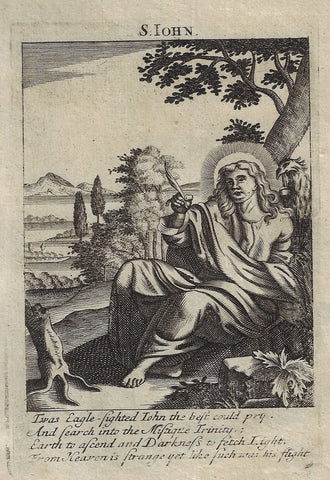 "Antique Religious Print from ""Book of Prayer"" - SAINT JOHN - 1708"