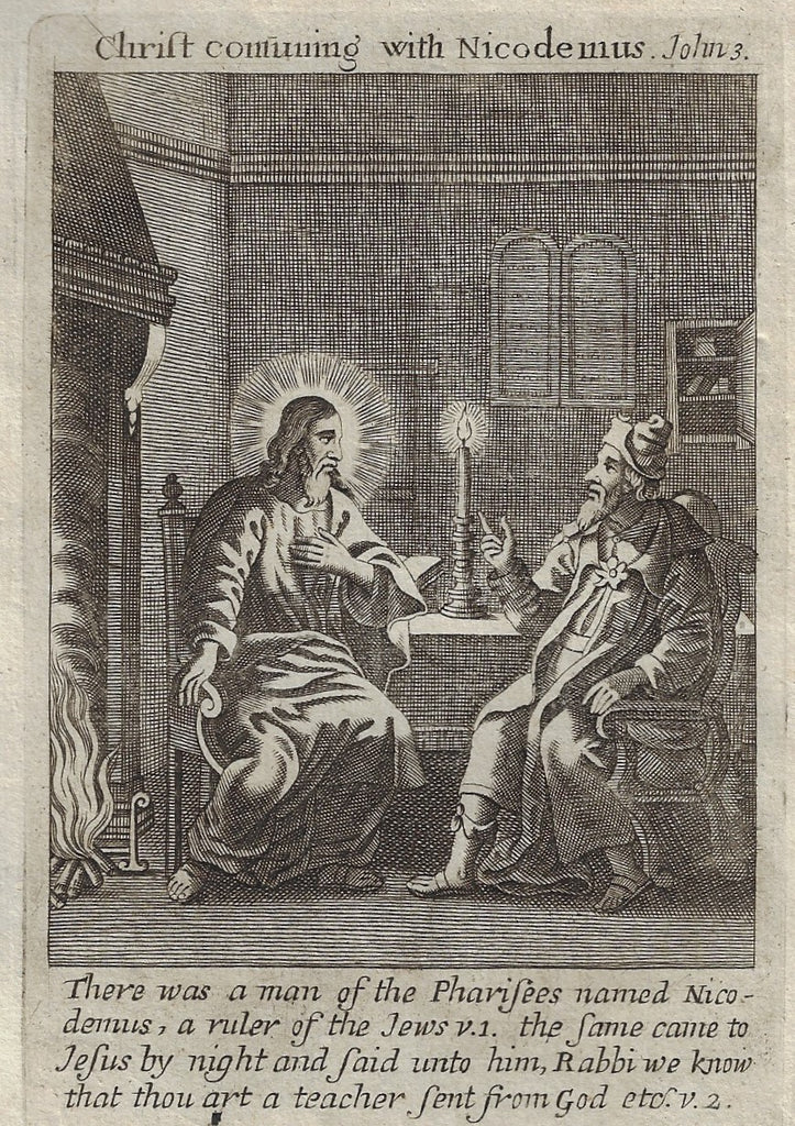 "Antique Print from Book of Prayer - ""CHRIST CONSUNING WITH NICODEMUS"" - 1708"