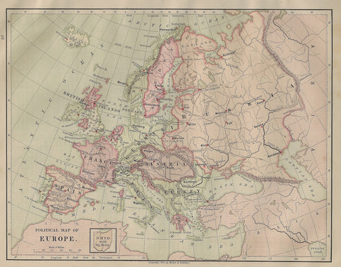 Harper's Geography Map - POLITICAL MAP OF EUROPE - Chromo - 1877