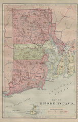 Harper's Geography Map - RHODE ISLAND - Chromolithograph - 1877
