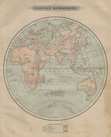 Harper's Geography Map - EASTERN HEMISPHERE - Chromolithograph - 1877
