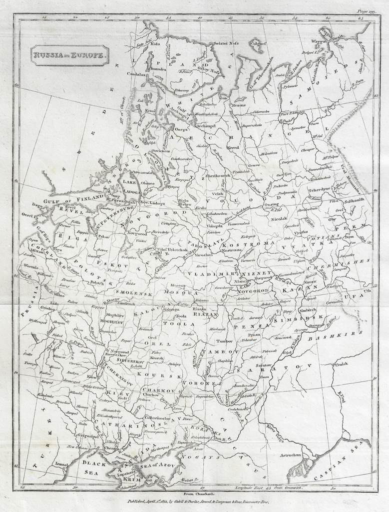 Map - RUSSIA IN EUROPE from Modern Geography - Copper Eng. - 1811