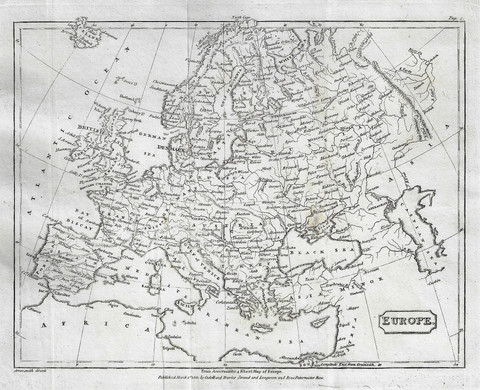 Map - EUROPE from Modern Geography - Copper Engraving - 1811