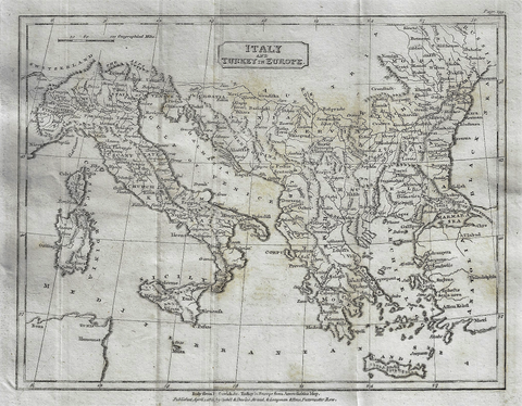 Map - ITALY & TURKEY IN EUROPE from Modern Geography - Copper Engraving - 1811