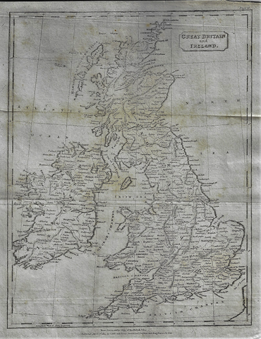 Map - GREAT BRITAIN & IRELAND from Modern Geography - Copper Engraving - 1811