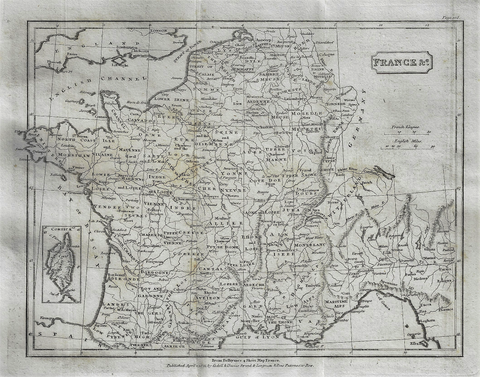 Map - FRANCE from Modern Geography - Copper Engraving - 1811