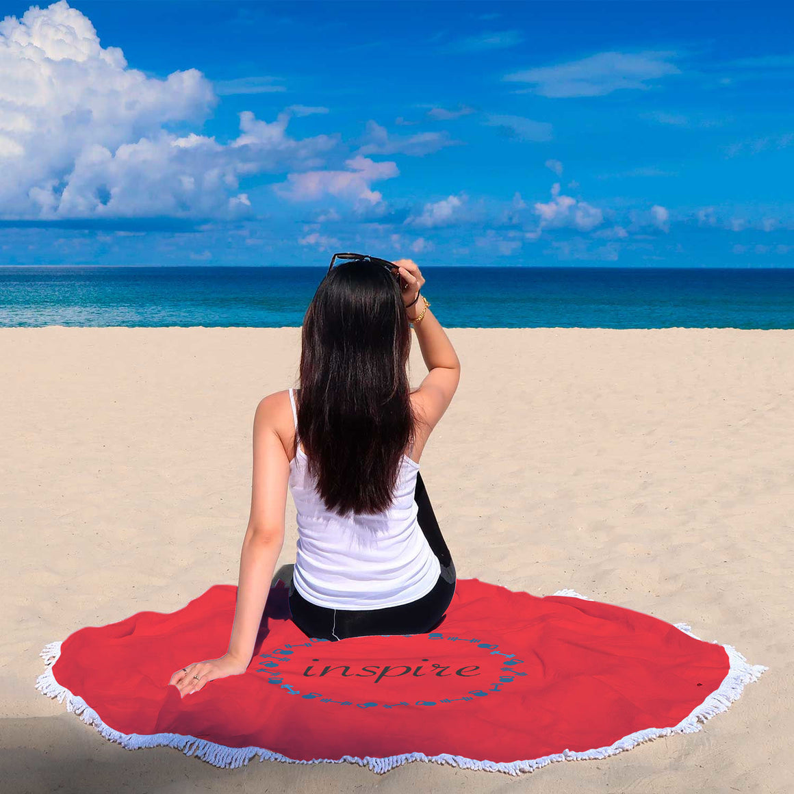 Red Round Beach Blanket FitGirls Inspire