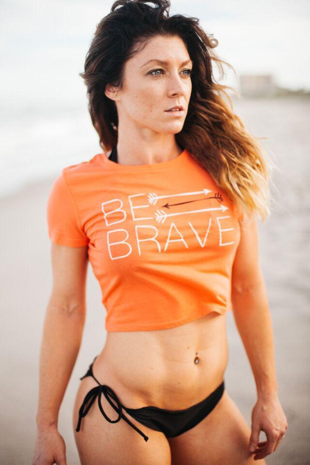 Be Brave Crop Shirt- Orange - FitGirls_inspire - 1