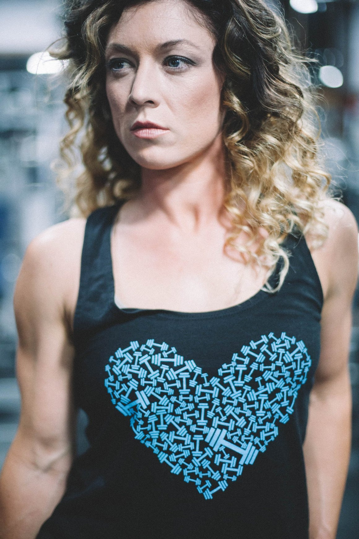 Dumbbell Heart Blue Tank top FitGirls Inspire