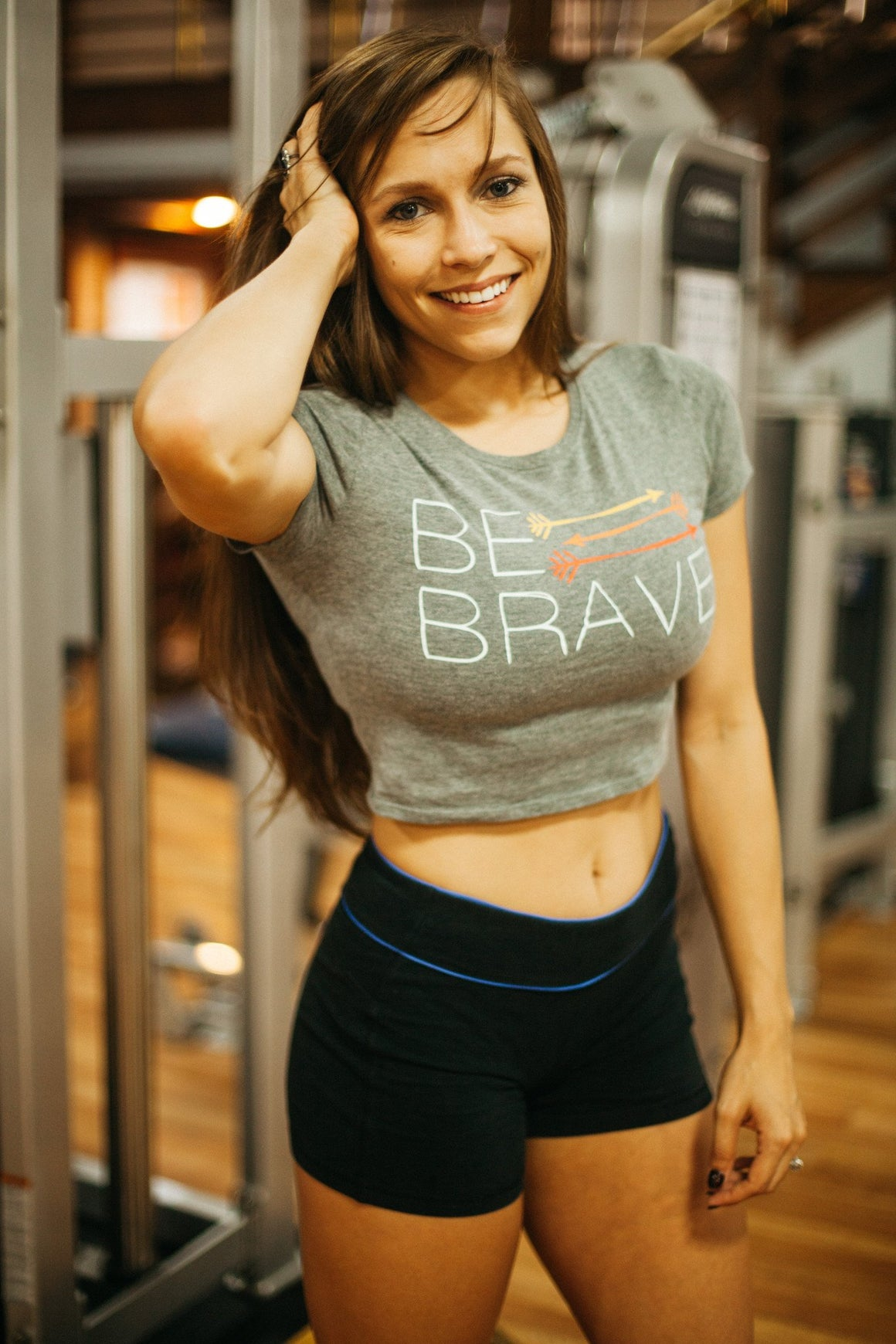 Be Brave Crop Shirt- Grey - FitGirls_inspire - 2