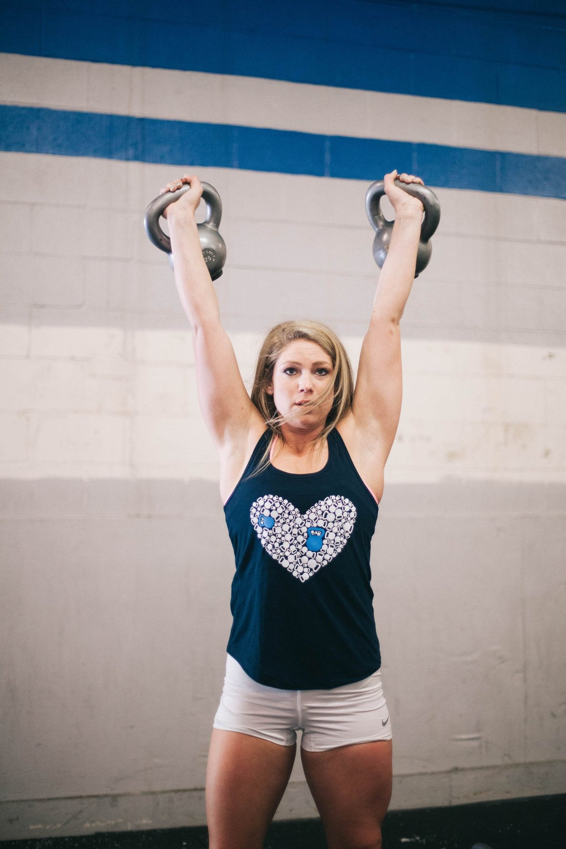 Kettle Bell Heart Tank Dark Navy FitGirls Inspire