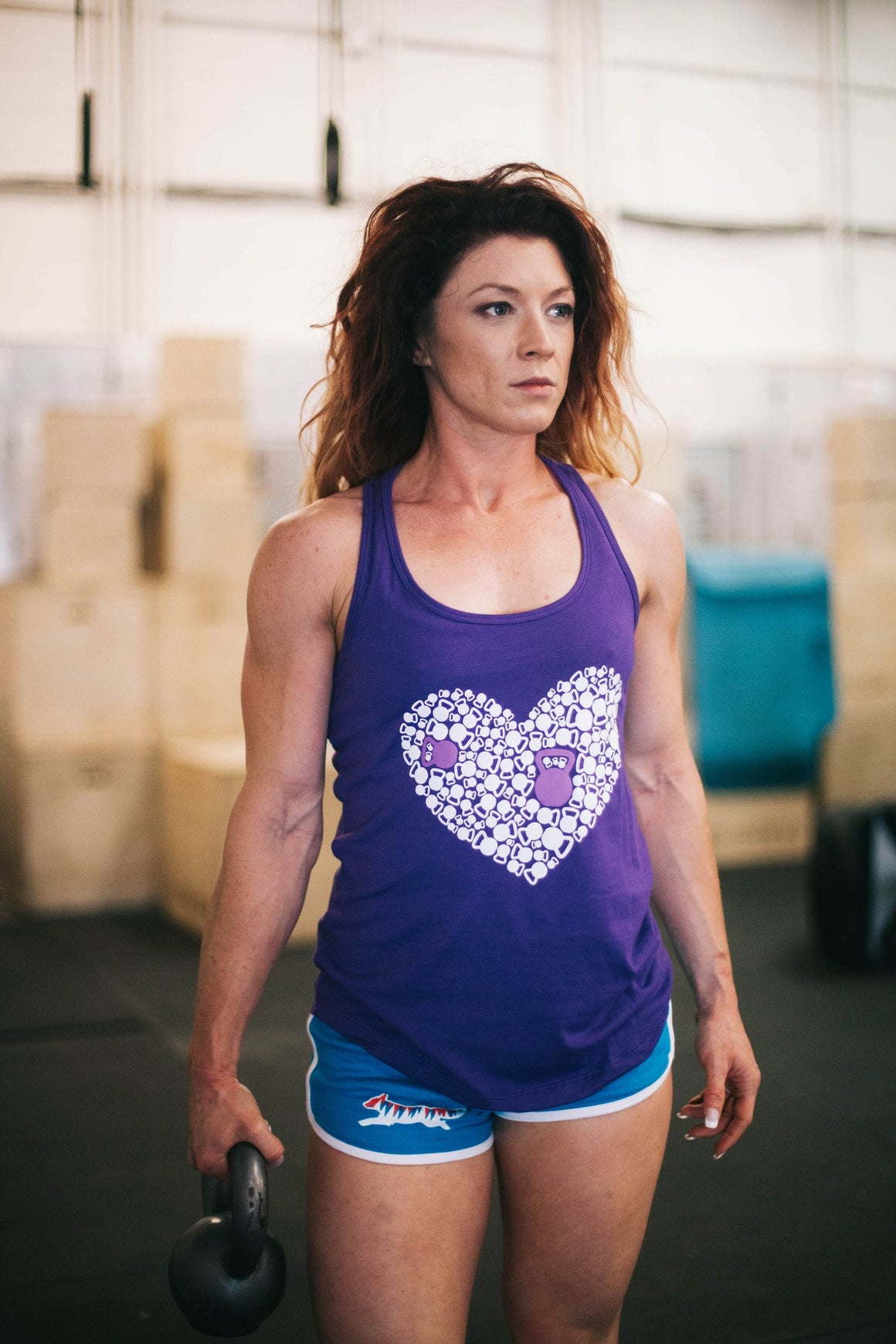 Kettle Bell Heart Tank Purple Rush FitGirls inspire