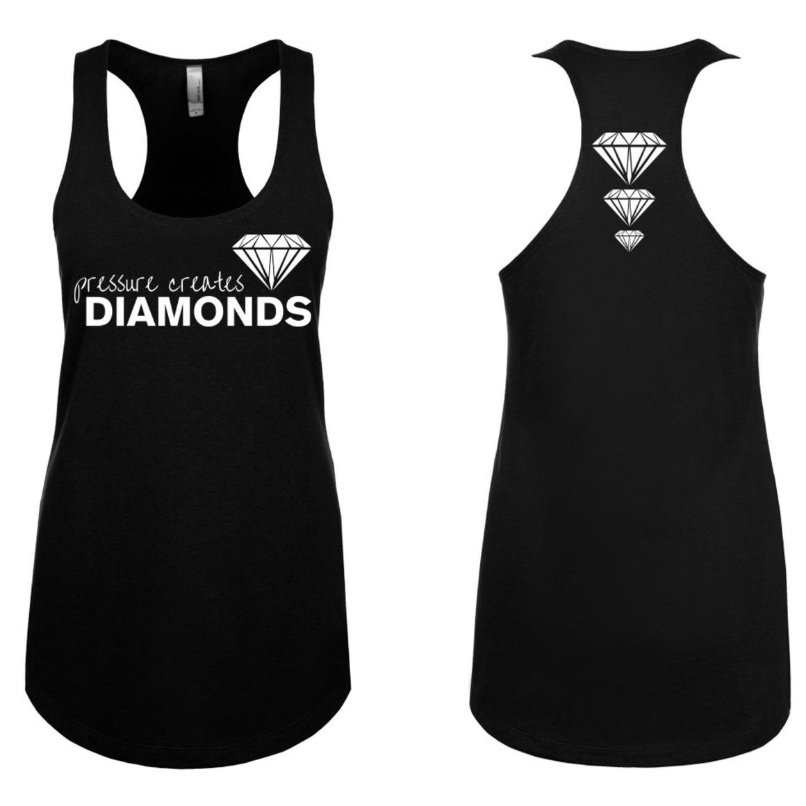 Pressure Creates Diamonds Tanktop- Black - FitGirls_inspire - 4