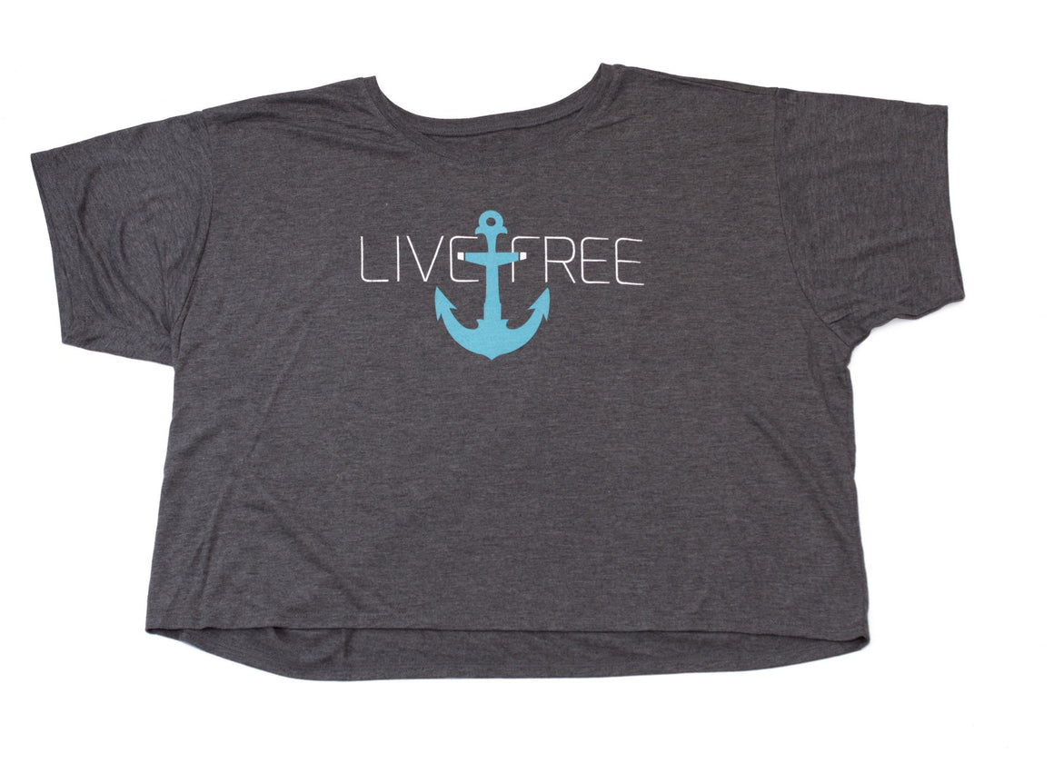 Live Free Anchor Grey Shirt FitGirls Inspire