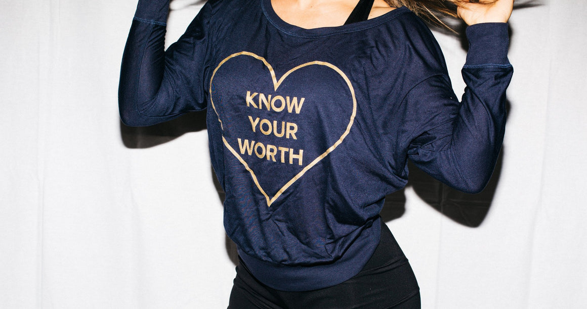 Know Your Worth Long Sleeve- Navy - FitGirls_inspire - 2