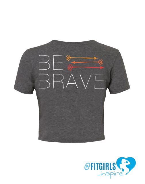 Be Brave Crop Shirt- Grey - FitGirls_inspire - 3