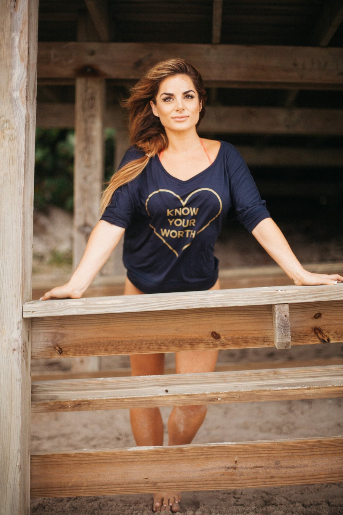 Know Your Worth Long Sleeve- Navy - FitGirls_inspire - 1