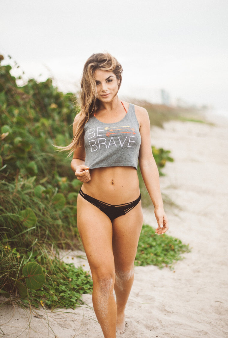 Be Brave Crop Tank- Grey - FitGirls_inspire - 1