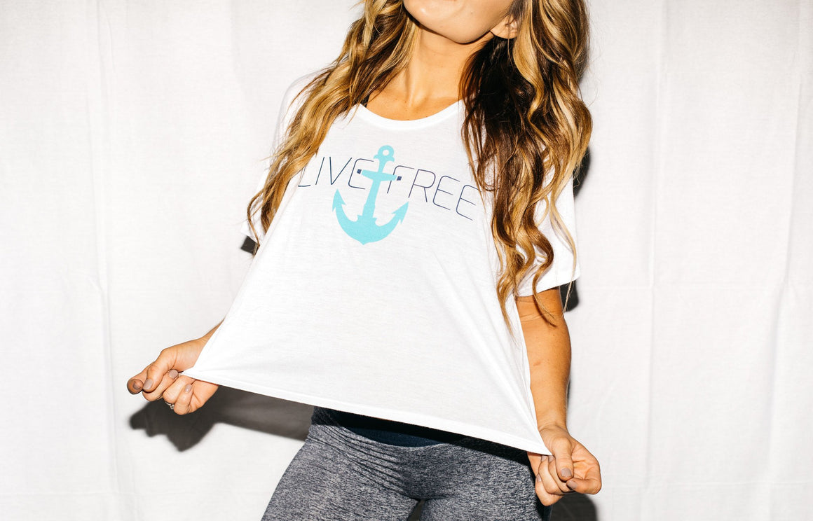 Live Free Anchor Shirt White FitGirls Inspire