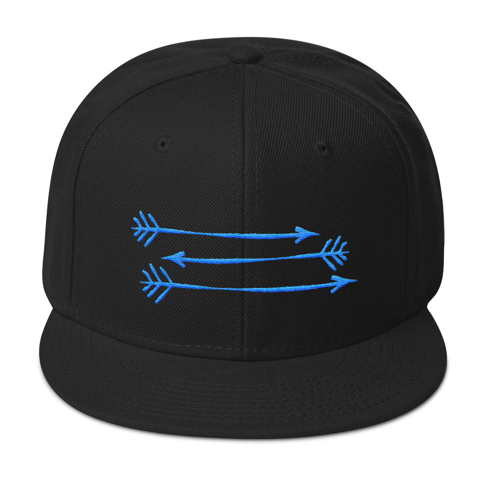 Full Black Snapback Hat 3 Blue Arrows FitGIrls Inspire