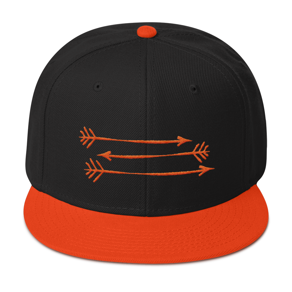 Black Orange Snapback Hat 3 Orange Arrows FitGirls Inspire