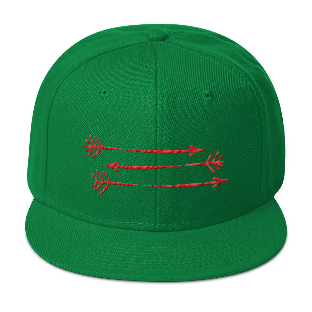 Full Green Snapback Hat 3 Orange Arrows FitGirls Inspire