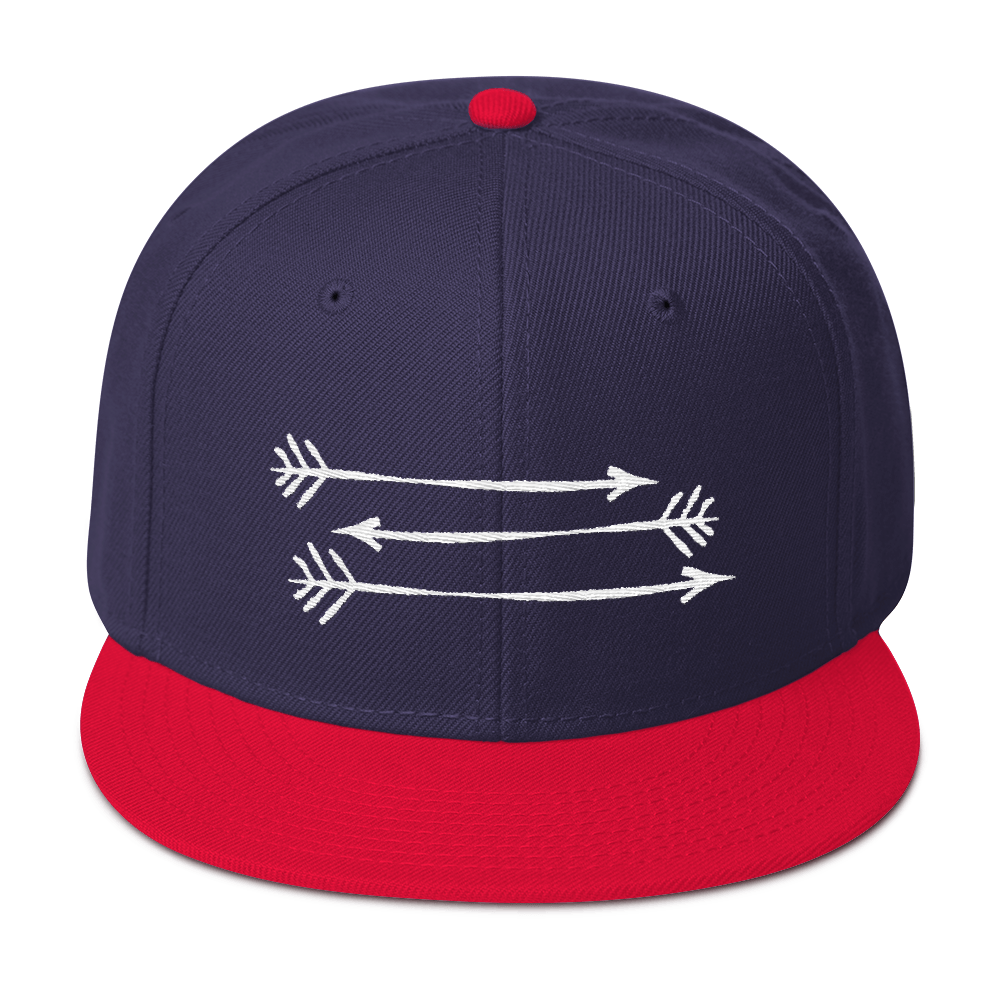 Navy Blue Red Snapback Hat 3 White Arrows FitGirls Inspire