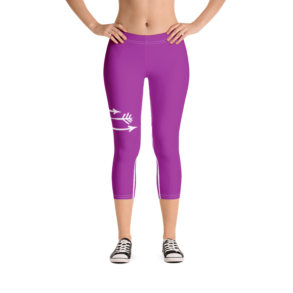 FitGirls Inspire Purple Capri Yoga Leggins 3 arrows
