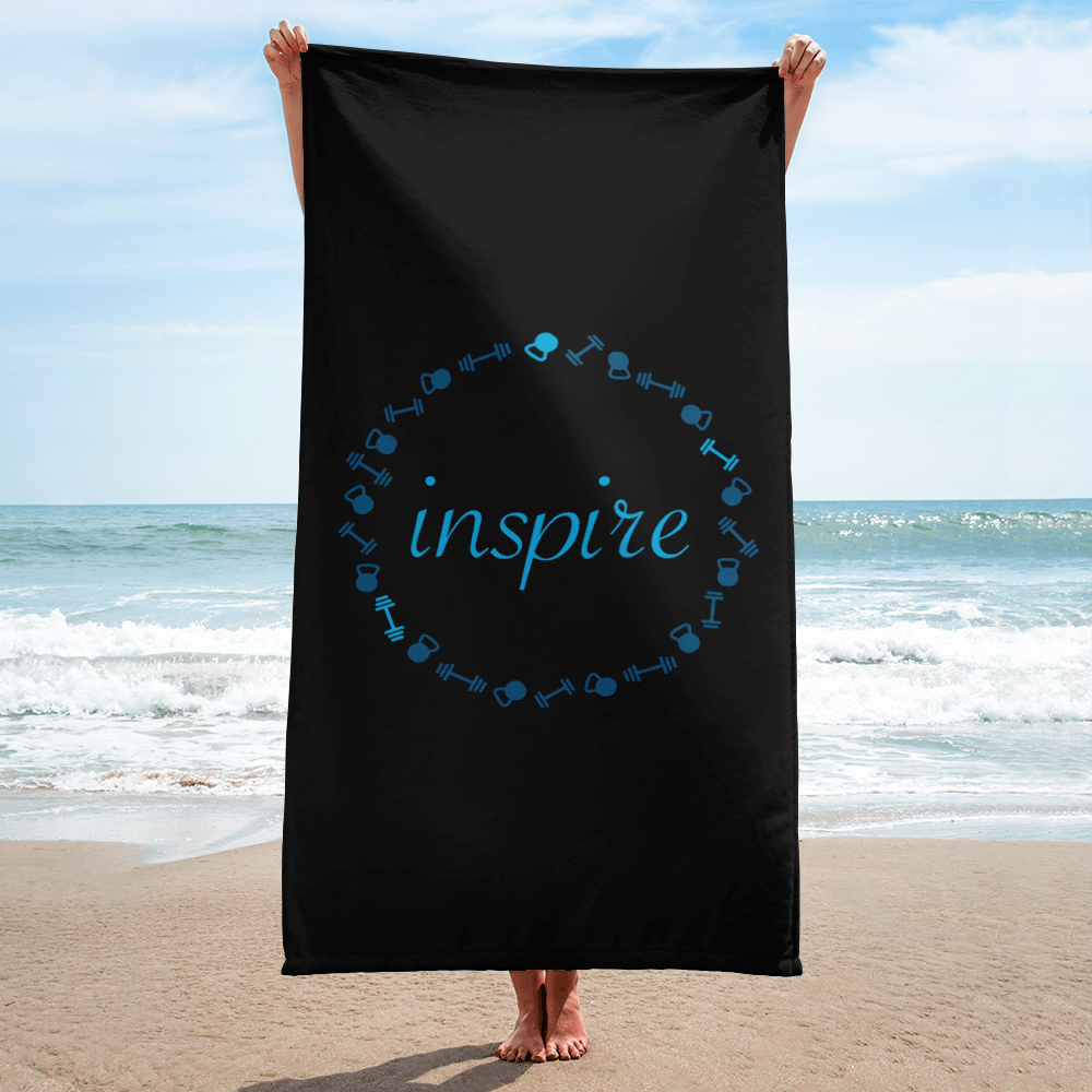 Black FitGirls Inspire Beach Towel