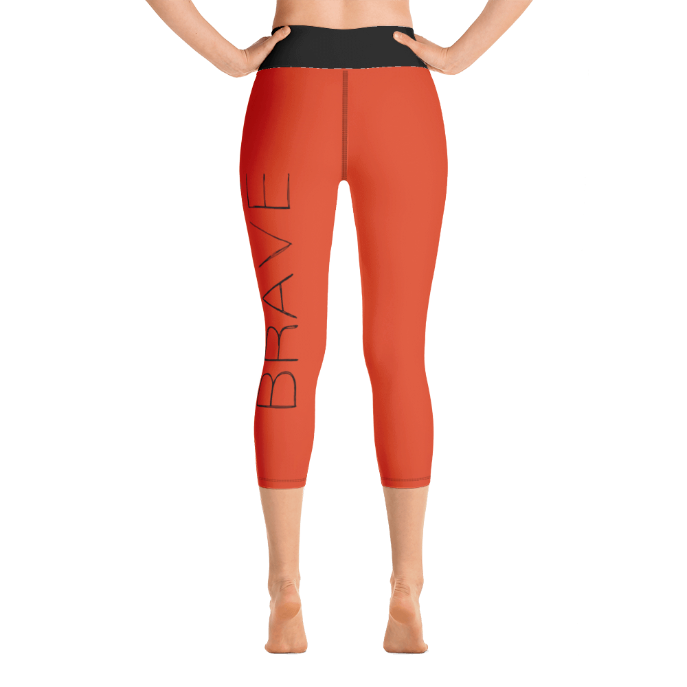 Be Brave 3 arrows orange black yoga capri leggins FitGirlsInspire