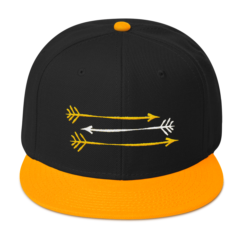 Black Gold Snapback Hat 3 GOld and White Arrows FitGirls Inspire