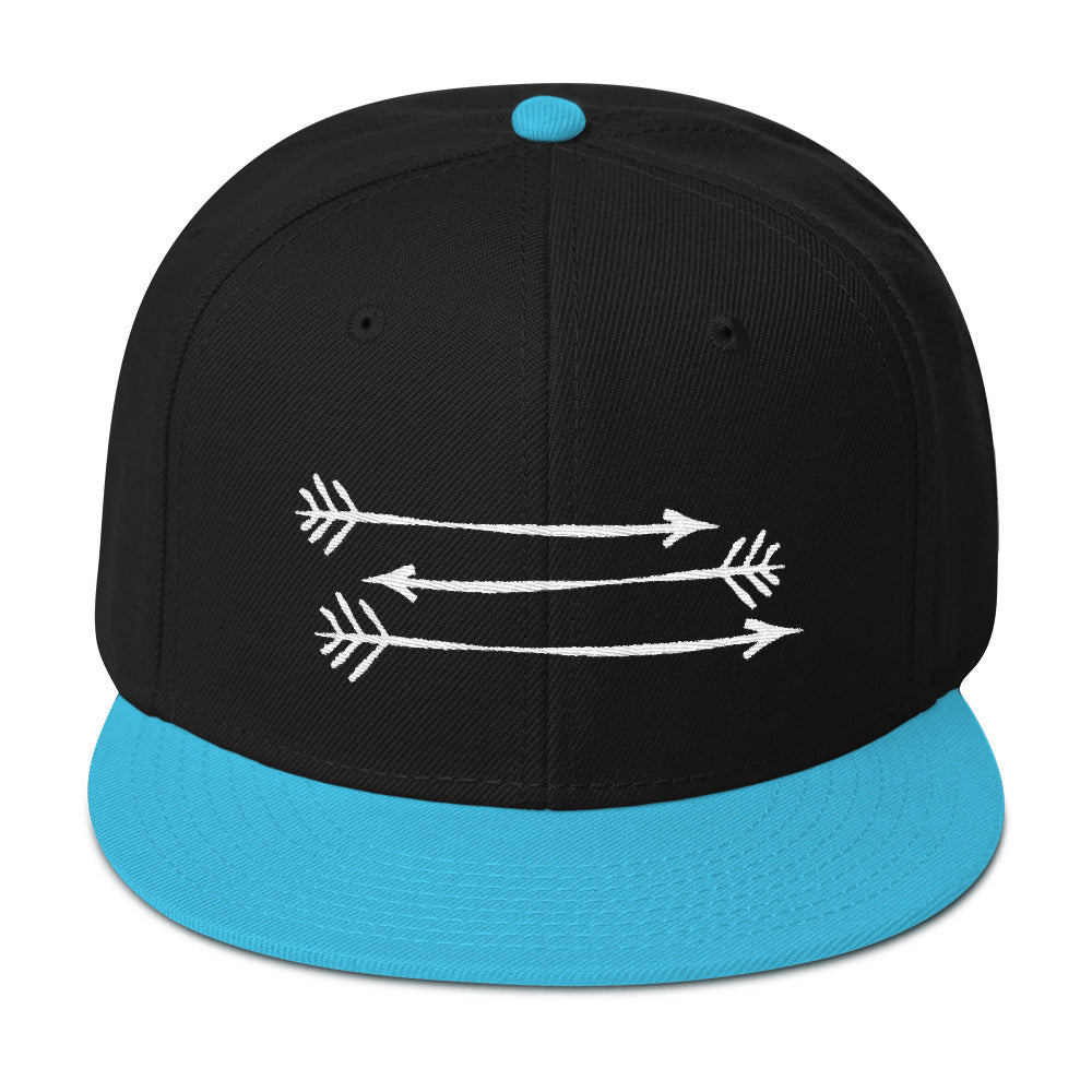 Black Aqua Blue Snapback Hat 3 White Arrows FitGIrls Inspire