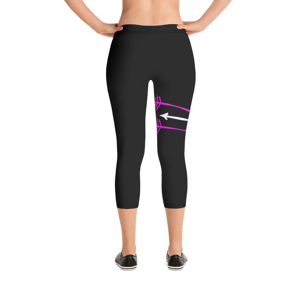 FitGirls Inspire Black Capri Yoga Leggins 3 arrows