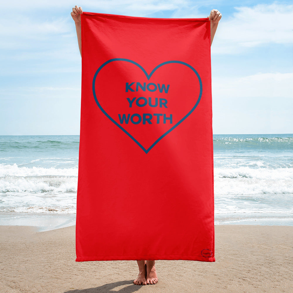 FitGirls Inspire Know your worth beach towel heart