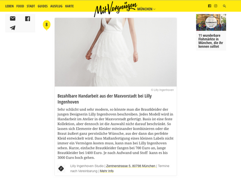 "Lilly Ingenhoven Bridal featured on ""Mit Vergnügen München"""