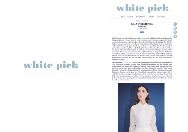"Lilly Ingenhoven Bridal on ""White Pick"" Blog"