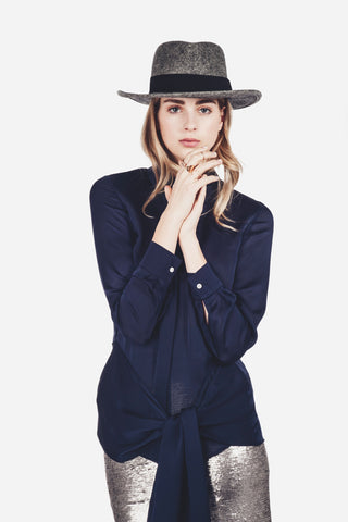 "Navy Silk Long-Sleeve Blouse ""Colleen"""